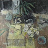 still life with flowers, birds and pineapple by donald manson