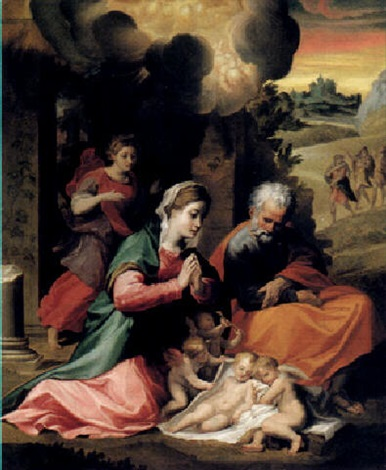 the nativity and the annunciation to the shepherds beyond by michelangelo anselmi