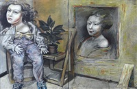 double female portrait - diptych by ross ritchie
