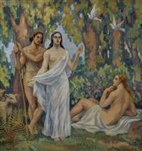 nus et bergers sous les arbres by gabriel moiselet