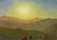 looking from the shade on clay hill (sunset, clay street hill, san francisco) by albert bierstadt