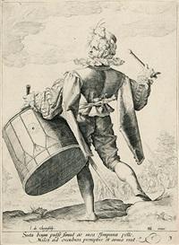 trommler - fahnenträger - soldat mit breitschwert und schild - soldat mit arkebuse - sergeant. blatt 3-5 und 7-8 der folge offiziere und soldaten (5 works) (engraved by h. goltzius) by jacques de gheyn ii