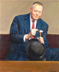 portrait of joseph forsyth gimson (1896-1985), managing director of the worcester royal porcelain company by ruskin spear