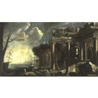 view of a harbor with classical ruins by johann anton eismann