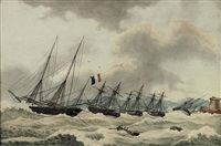 the french fleet riding out a storm in the bay of tabarco off the barbary coast by nicolas cammillieri