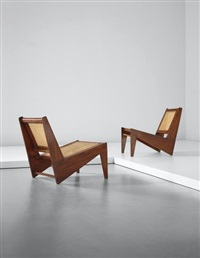 pair of low chairs, model no. pj-si-59-a, designed for private residences, chandigarh by pierre jeanneret