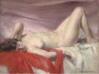 reclining nude by alexandre françois bonnardel