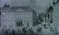 das standische theater, das burgthor und domkirche in gratz by eduard gurk