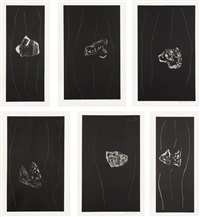soot-black stone, #1-6 (set of 6) by robert motherwell