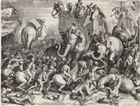 battle of scipio against hannibal, called the battle of the elephants (after giulio romano) by cornelis cort