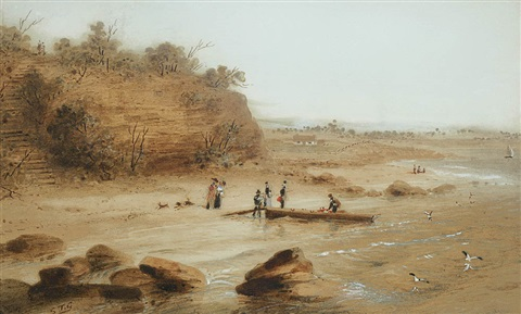 first landing place of captain cook botany bay new south wales by samuel thomas gill