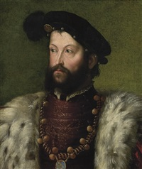 portrait of a bearded man, bust-length, in a fur-trimmed robe and black hat, with the order of saint michael by nicoletto da modena