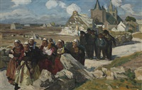 men and women leaving church in brittany by lucien simon