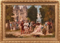 scena dworska z czasów henryka walezego by ladislaus bakalowicz
