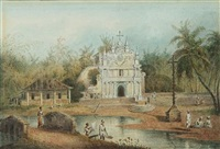 the santhome chapel, madras (+ 2 others; 3 works, varous sizes) by charles (sir) d'oyly