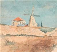 windmill and a house by meir gur-arie