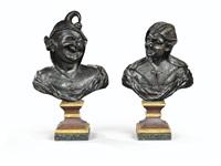 paire de bustes de grotesques by pieter xavery