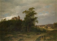 romantische landschaft am schloß by caesar bimmermann