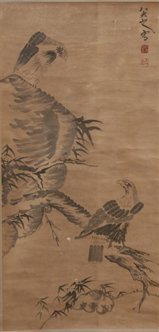 eagles perched on branch and rock formation by bada shanren