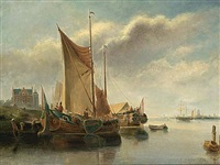 dutch sailing vessels near the coast by willem l. andrea