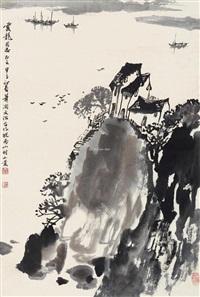 皖南山村 立轴 水墨纸本 by song wenzhi and xiao han