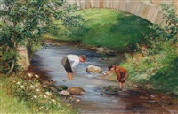 boys paddling in a river by m. dempster