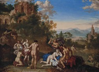 diana surrounded by nymphs in a classical landscape by daniel vertangen