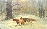 wood cart in winter by william henry lippincott