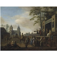 a stage play in a village street, with numerous villagers watching, a church in the background by gerrit adriaensz berckheyde