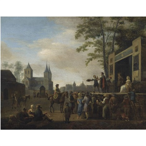 a stage play in a village street with numerous villagers watching a church in the background by gerrit adriaensz berckheyde