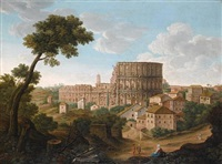 a view of the colosseum, rome by giacomo van (monsù studio) lint