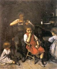 jeune mère et ses enfants attendant le retour du père pour les repas by eduard d' april
