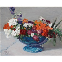 flowers in a blue bowl by james edward hervey macdonald