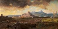 paysans sur le chemin vers le château de la garde by vincent joseph françois courdouan
