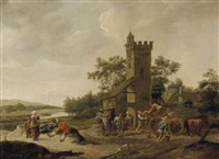 a river landscape with figures resting and unloading a wagon at the outskirts of a village by jan steen