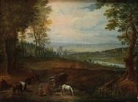 paysage animé de voyageurs au repos by jacques fouquieres