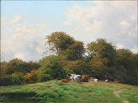 landscape with grazing cows by carl frederik bartsch