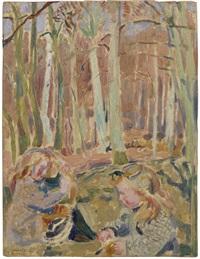 les enfants jouant dans la forêt, étude en rose et jaune by maurice denis