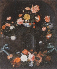 a cartouche surrounded by a flower garland with tulips, roses and other flowers by david cornelisz heem iii