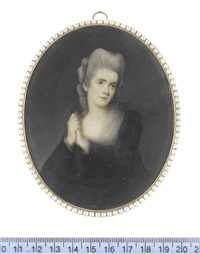 the actress, clara hayward (active), seated and wearing dark blue dress, white chemise and fichu, her powdered wig curled in rolls and upswept by ozias humphry