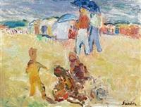 enfants jouant sur la plage by henri saada