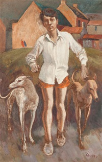 boy with greyhounds by john terence santry