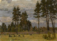 pine trees in a clearing by petr ivanovich petrovichev