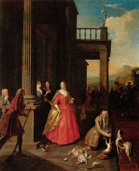 elegant figures gathered before a portico after returning from a hunt by josef van aken