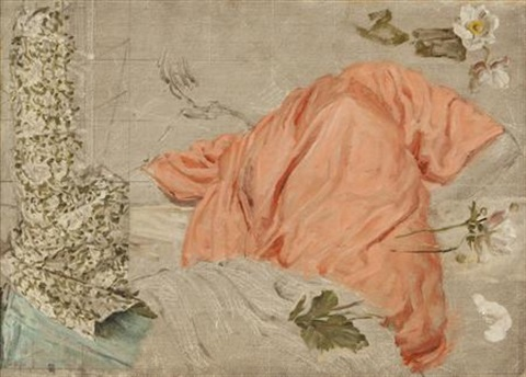 draperies and flowers study by albert joseph moore