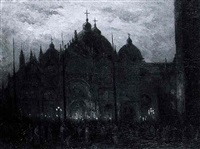 numerous figures in front of the san marco, venice, at night by etienne marie theodore bosch