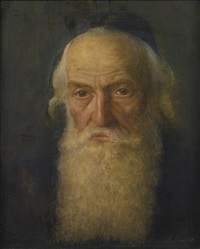 rabbi reading and portrait of a rabbi (2 works) by lazar krestin