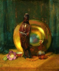 guanyin and tiffany glass, still life by theodore n. lukits
