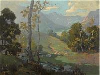 summer splendor along a stream by elmer wachtel