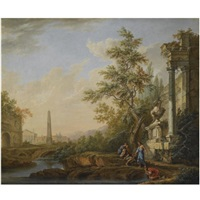 an italianate landscape with figures drinking from a river beneath classical ruins, an obelisk, a roman triumphal arch and a town beyond by lorens (lars) gottman